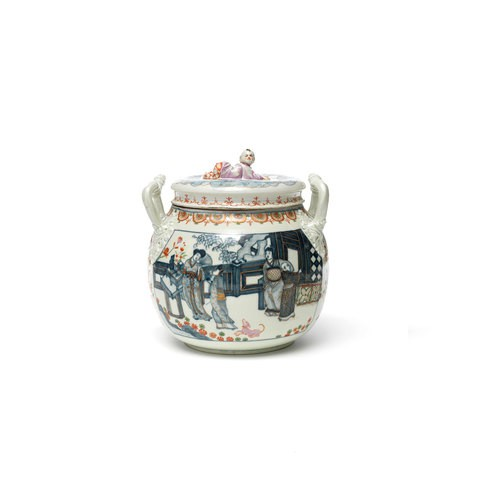A porcelain two-handled pot with Asian life scene illustration on it.