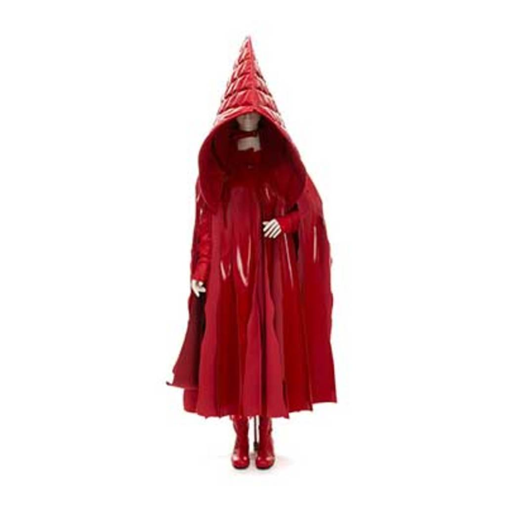 A red cloak with a huge hood. The body part is made from fabric strips.