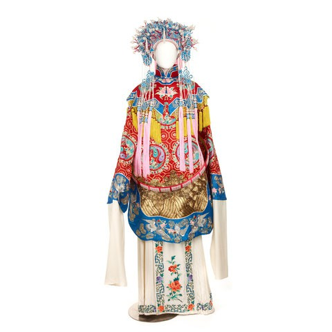 A traditional Chinese opera dress with a fancy pearl headdress. The dress has flowers, phoenix and waves patterns on it.