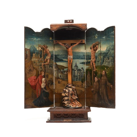 A wooden sculpture which presents the scene of Crucifixion Polyptych.