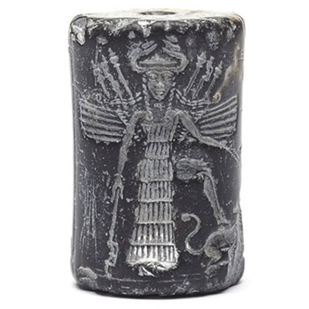 A black stone cylinder seal which is dedicated to a little-known goddess.