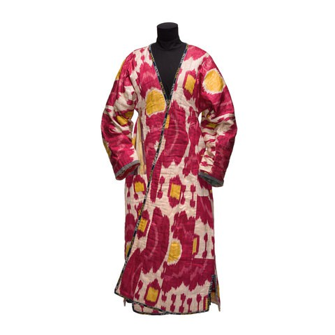 A robe with red and yellow patterns on it.