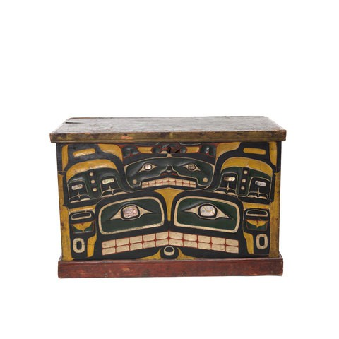A Kawatsi or Treasure Box with lid, carved and painted on three sides, back side is unfinished.