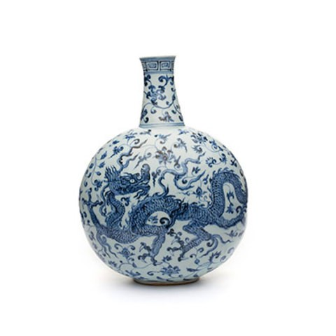 A white and blue porcelain flask which has two dragons on both sides.