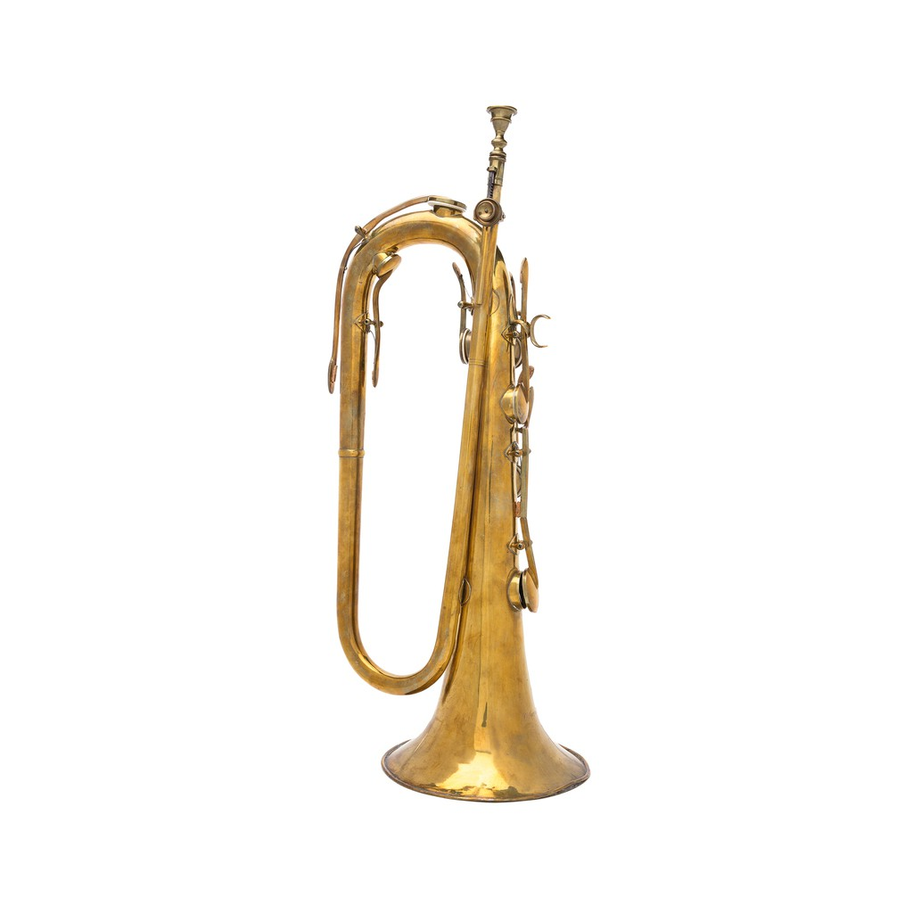 A sax keyed bugle which is built of brass with seven keys, ratchet tuning slide, attachment for a lyre near the bell, and original mouthpiece. Charles-Joseph Sax, the father of Adolphe Sax, was a great instrument builder in his own right, as this instrument demonstrates.