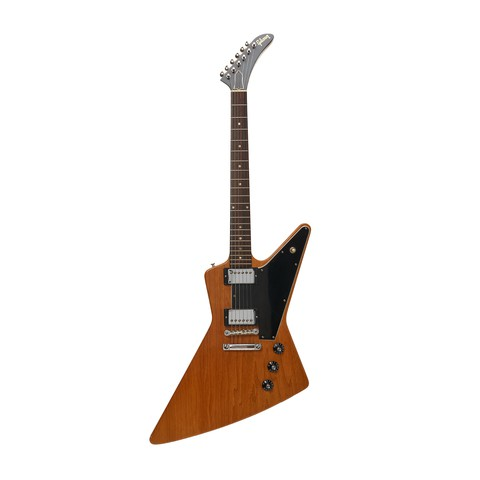 A Gibson Explore electric guitar which is black and brown.