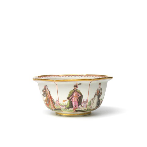 A octagonal bowl painted on each side with full-length portrait of nationals.
