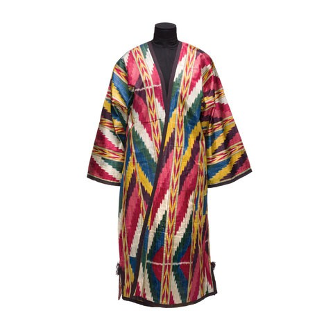 A robe with colourful strings pattern on it.