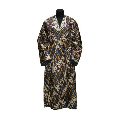 A dark colour robe with grey, yellow, blue and black pattern on it.