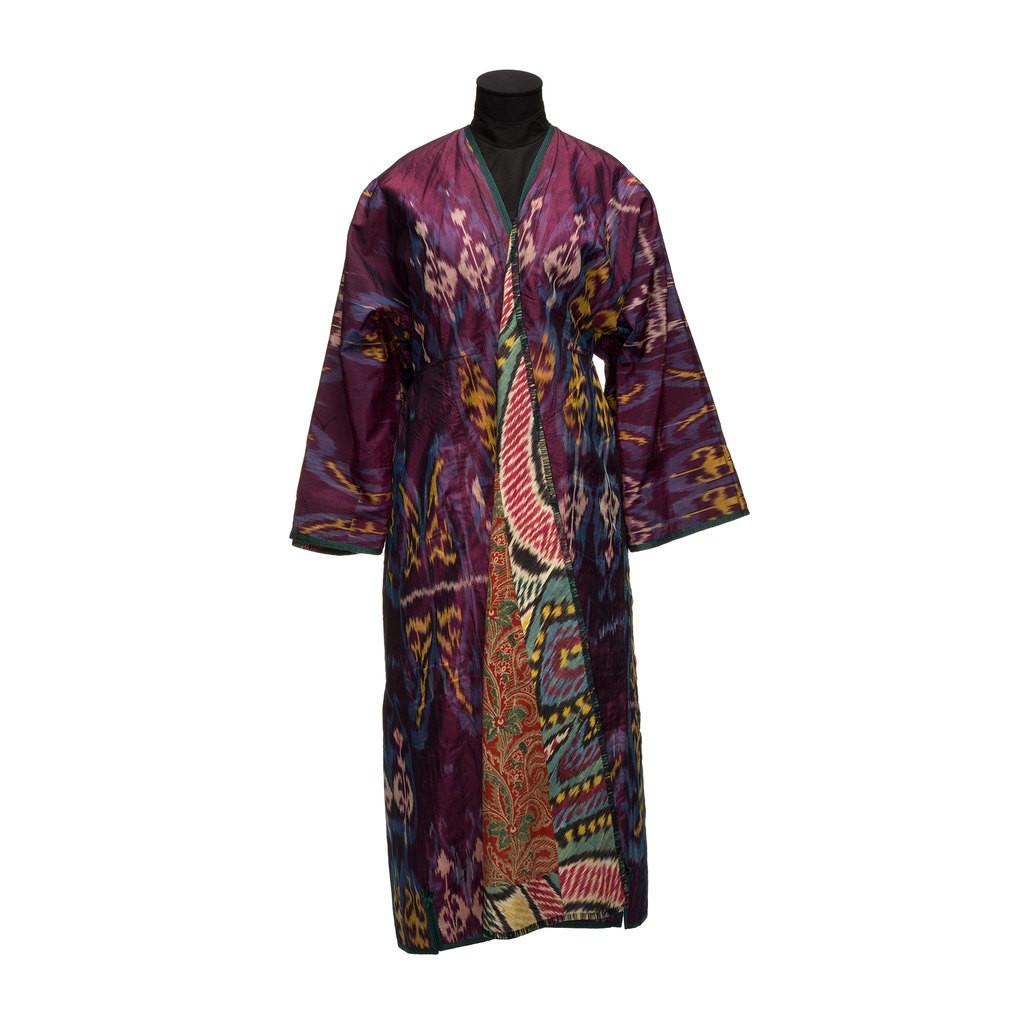 A dark purple robe. Its inner side has colourful flowers pattern.