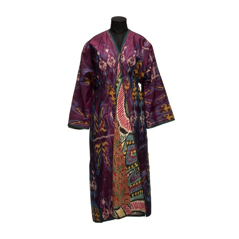 A dark purple robe. Its inner side has colourful flowers pattern.