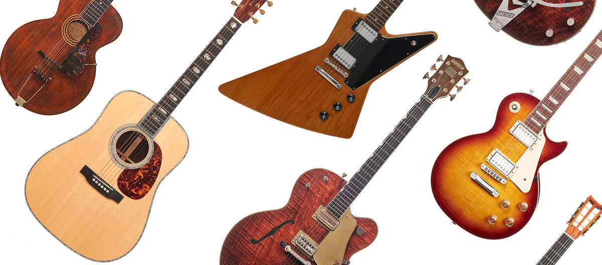 There are six different types of guitars are presented on a white background.