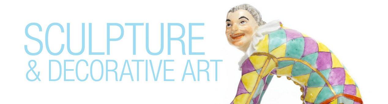 """A close view of The Greeting Harlequin porcelain sculpture. The collection title """"Sculpture and Decorative Art"""" is beside it."""