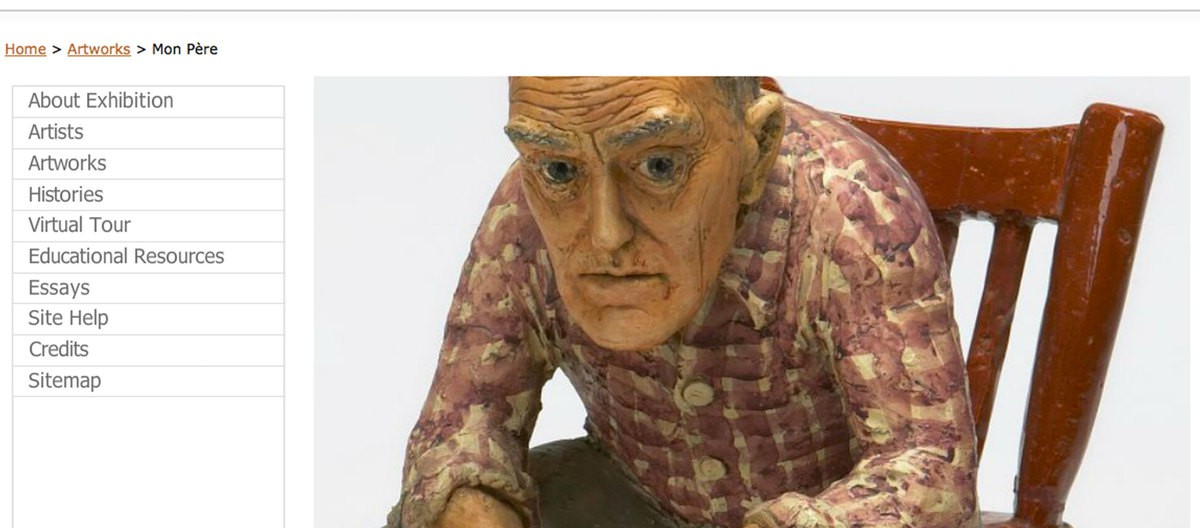 A clay sculpture made by Joe Fafard which presents a man is sitting on a chiar with serious facial expression.