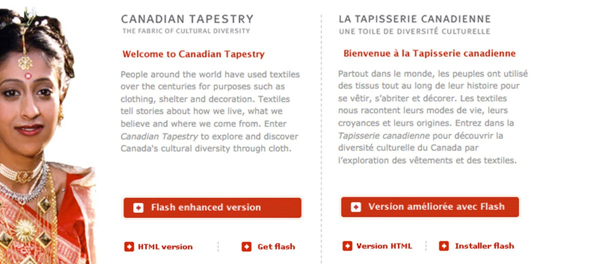The homepage of Canadian Tapestry.