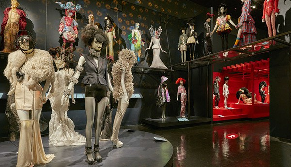 "A view of the Exhibition ""Fashion Underground: The World of Susanne Bartsch Exhibition at the Museum at FIT"", there are several mannequins presenting the costumes from Susanne Bartsch's collection."