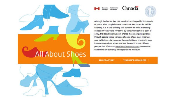 On the interior page, an illustration which presents an native person wearing traditional cloth and shoes is on the left. On the right, there's the introduction and a photo of the Traditional Footwear from the Great Plains.